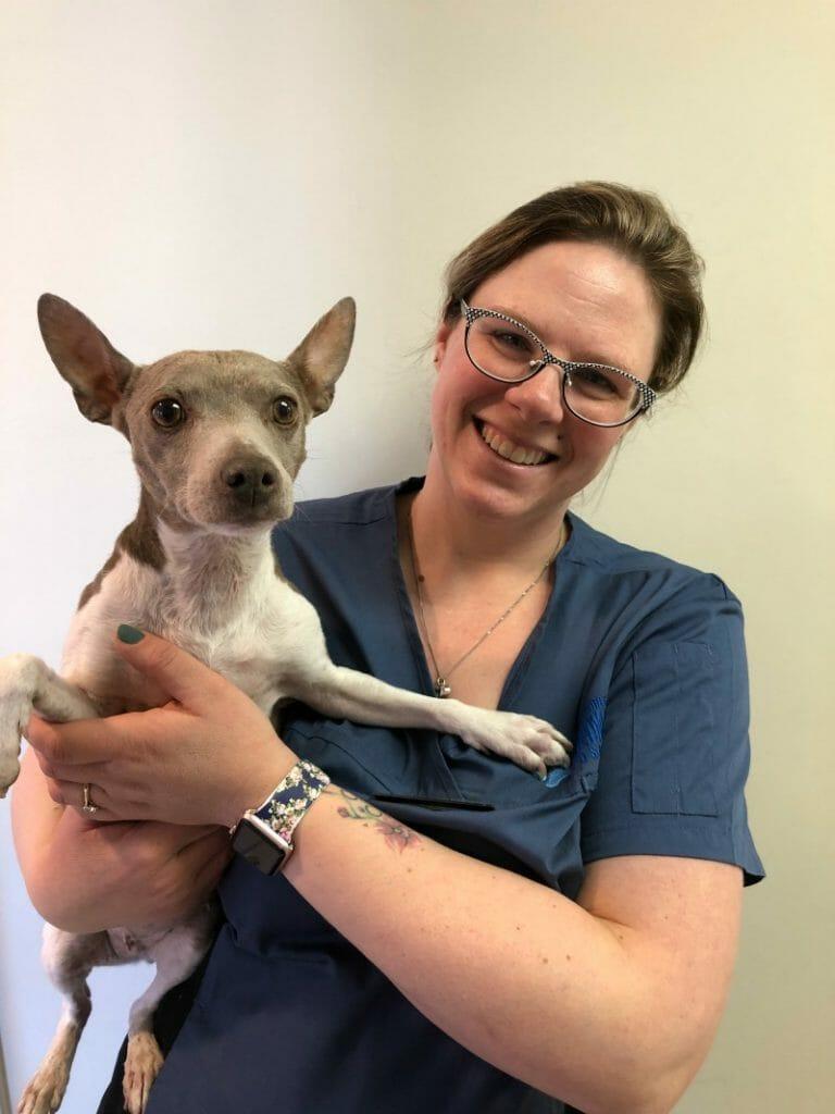 Lindsay Fundytus holding a dog
