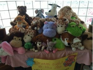 Stuffed animals on a table