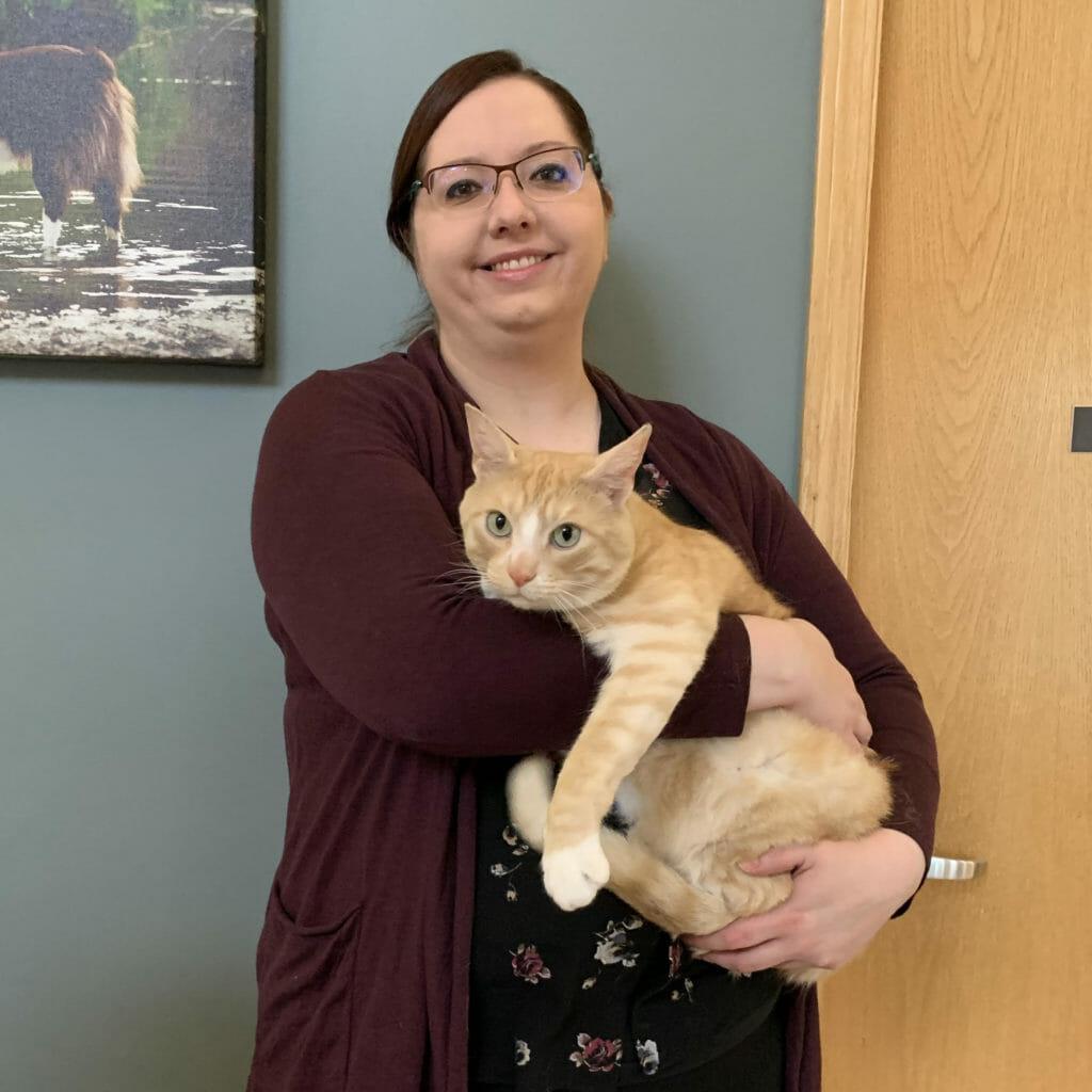 Dr. Kelley Havinga holding a cat